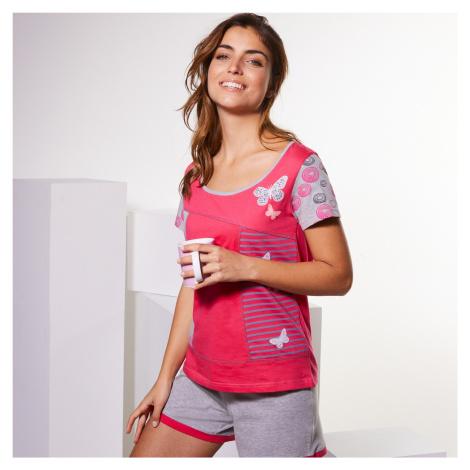 Blancheporte Pyžamo so šortkami a potlačou motýlikov, s krátkym rukávom fuksia