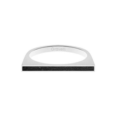 Gravelli Oceľový prsteň s betónom One Side oceľová / antracitová GJRWSSA121 mm