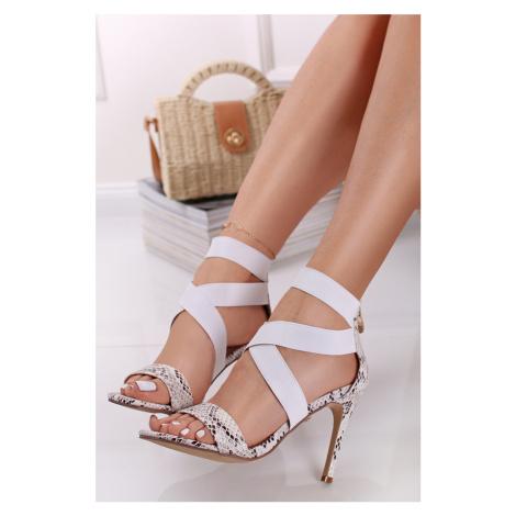 Biele sandále s hadím vzorom Mina Laura Biagiotti