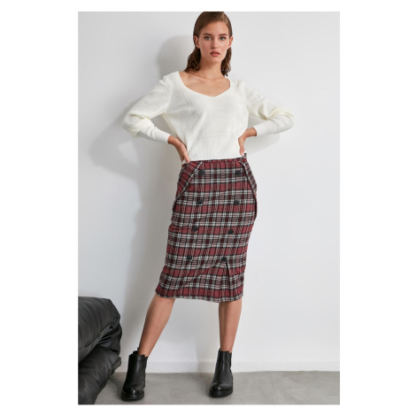Trendyol Pink Plaid Knitted Skirt