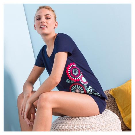 """Blancheporte Pyžamo so šortkami a krátkymi rukávmi, potlač """"rozety"""" nám.modrá"""