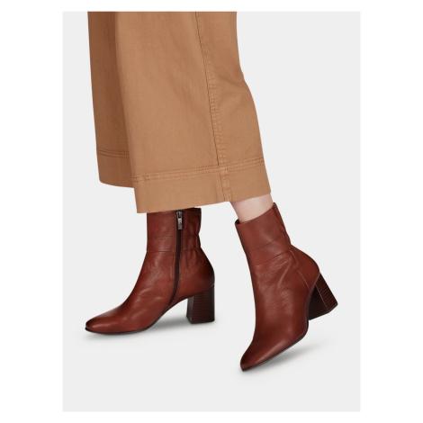 Tamaris hnedé členkové kožené topánky - 39
