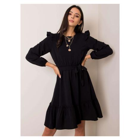 RUE PARIS Black dress with frill and belt