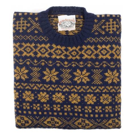 Jamieson's Knitwear Modro-zlatý vzorovaný sveter Jamieson's zo shetlandskej vlny