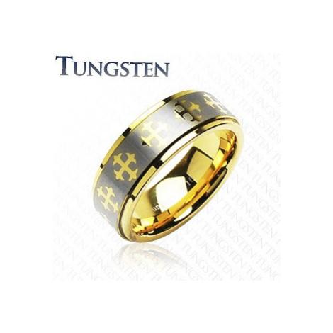 Wolfrámový prsteň s krížikmi a pásom striebornej farby - Veľkosť: 67 mm