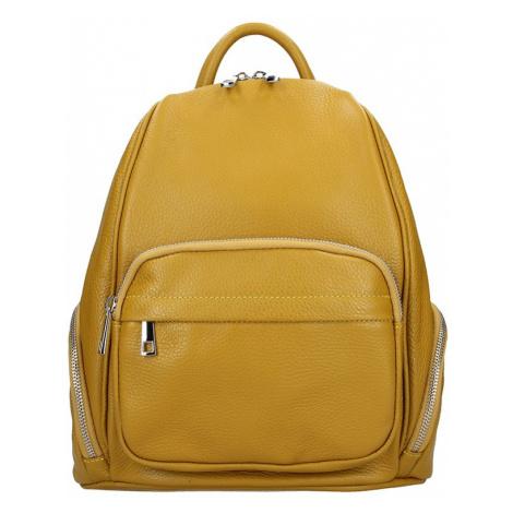 Dámsky kožený batoh Delami Elza - žltá