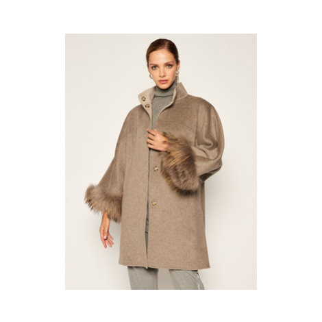 Luisa Spagnoli Vlnený kabát Sierra 537374 Sivá Oversize