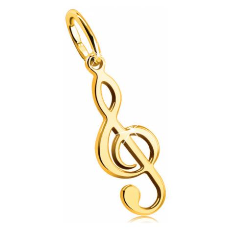 Zlatý 9K prívesok - hudobný motív, husľový kľúč, hladký a lesklý povrch
