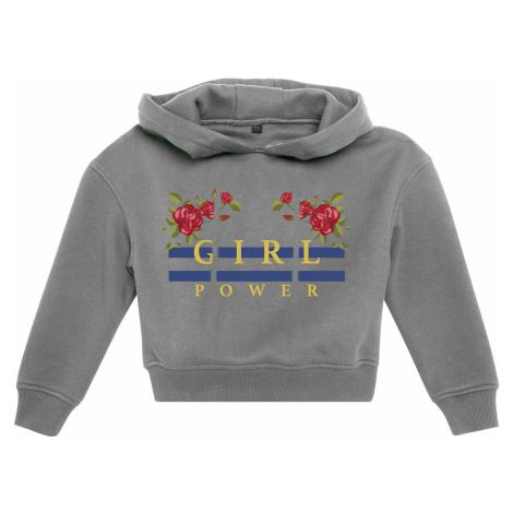 Detská mikina MR.TEE Kids Girl Power Cropped Hoody Farba: heather grey