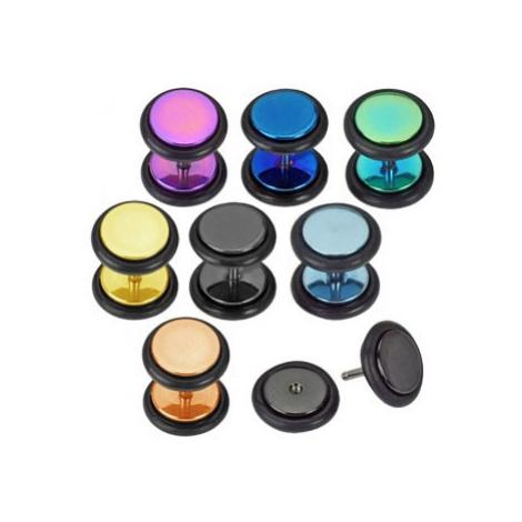 Falošný plug do ucha z ocele 316L - farebné krúžky anodizované titánom - Farba piercing: Zlatá