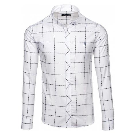 Biela pánska károvaná košeľa s dlhými rukávmi BOLF 0280 MADMEXT