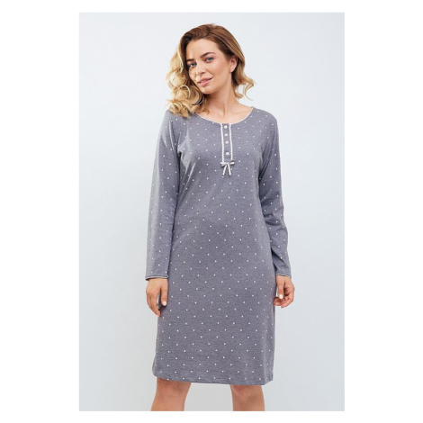 Luxusná nočná košeľa Tereza sivá s bodkami Cana