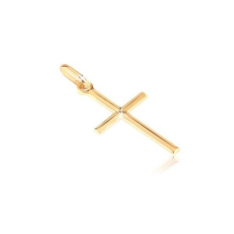 Zlatý 14K prívesok - drobný lesklý krížik s gravírovaným X