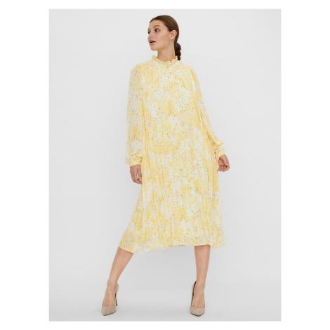 Vero Moda žlté midi plisované šaty Flora so vzormi