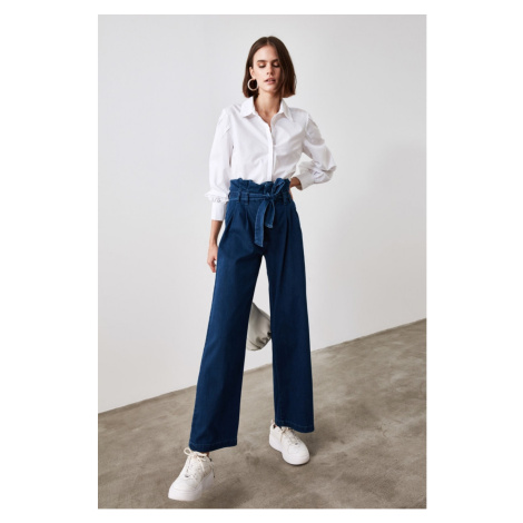 Trendyol Blue Belt Waist Slug Super High Waist Wide Leg Jeans