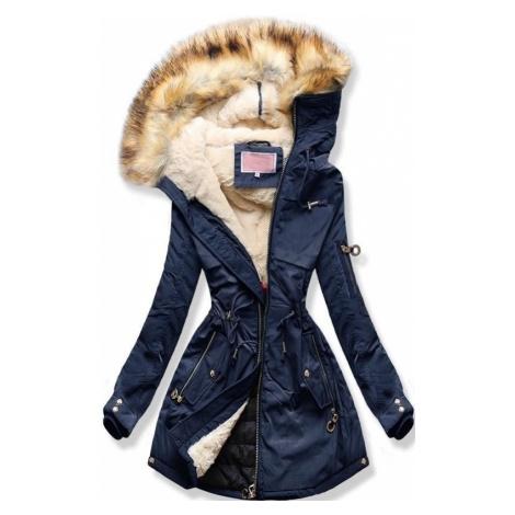 MODOVO Dámska zimná bunda s kapucňou tmavo modrá