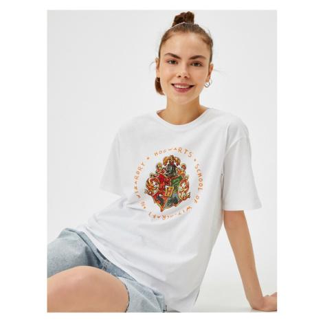 Koton Women's Ecru Harry Potter T-shirt Licensed Cotton