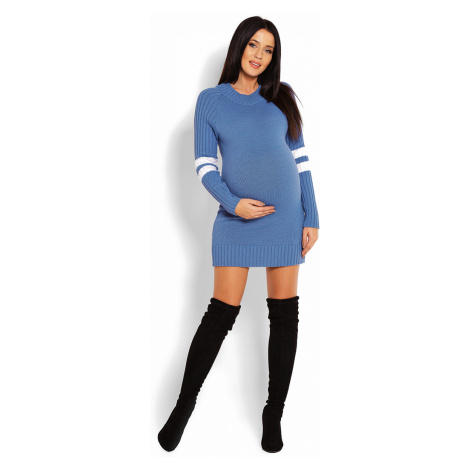 Modré svetrové tehotenské šaty 70011C PeeKaBoo