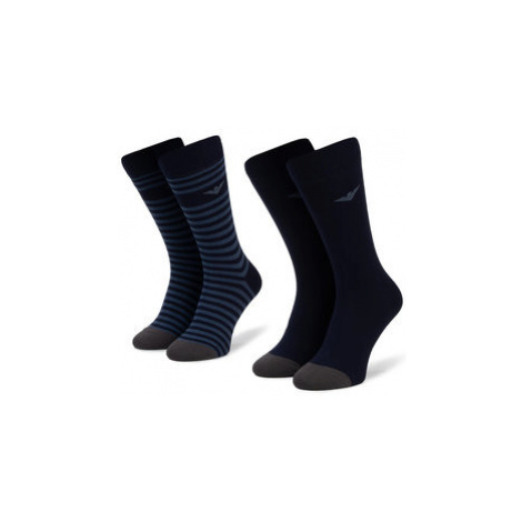 Emporio Armani Súprava 2 párov vysokých pánskych ponožiek 302302 9A293 03835 r. 39-46 Tmavomodrá