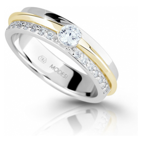 Modesi Bicolor strieborný prsteň so zirkónmi M16023 mm