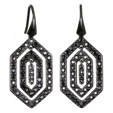 Karl Lagerfeld Slušivé čierne náušnice Black Deco Small Concentric