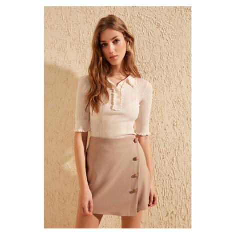 Trendyol Black Button Detailed Shorts Skirt Beige
