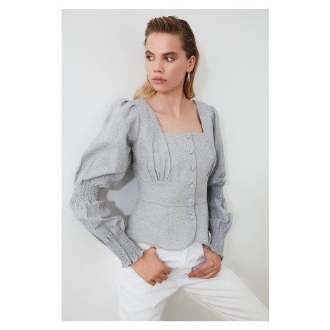 Trendyol Grey Button Detailed Blouse
