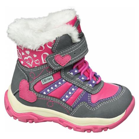 Cortina - Sivo-ružová zimná obuv na suchý zips s TEX membránou Cortina