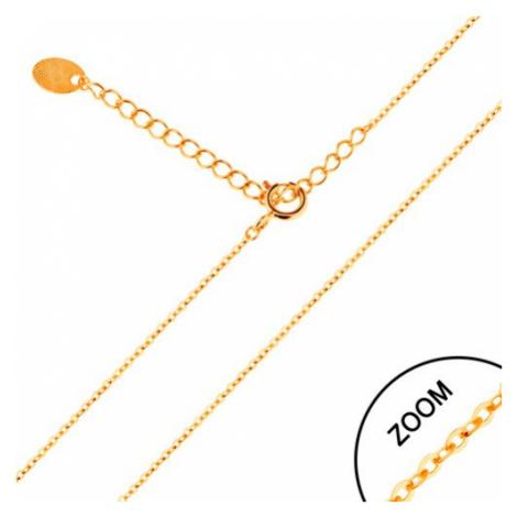 Retiazka v žltom 14K zlate - lesklé oválne očká, 450 mm