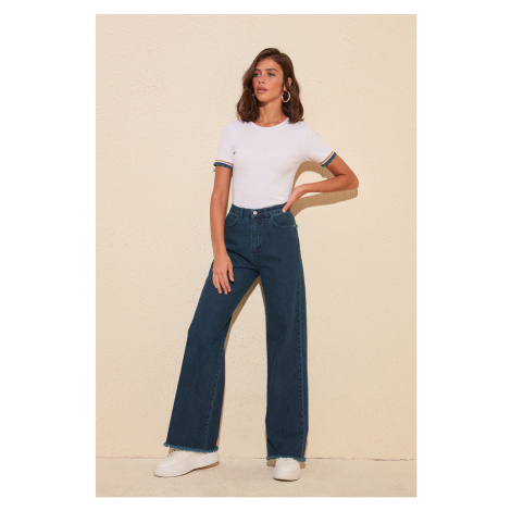 Trendyol Navy Legs High Waist Wide Leg Jeans WITH Tassels Navy
