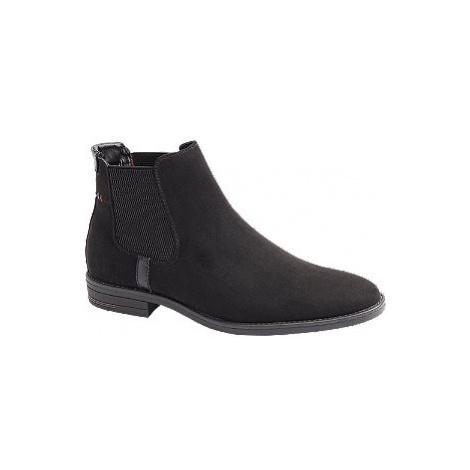 Čierna kožená Chelsea členková obuv Venice