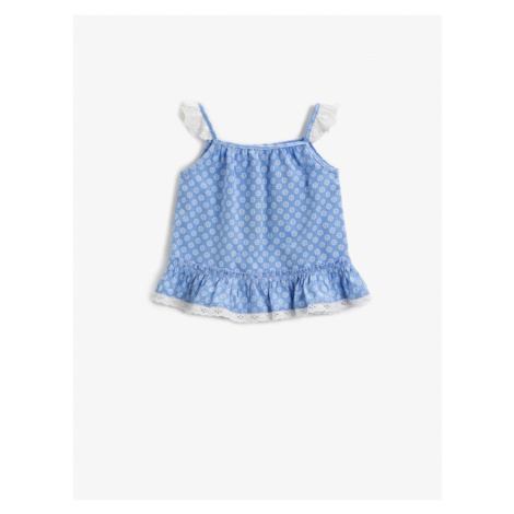 Koton Baby Girl BLUE PATTERNED Patterned Blouse Lace Detailed Cotton