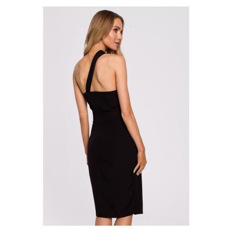 Čierne midi šaty M572 Moe