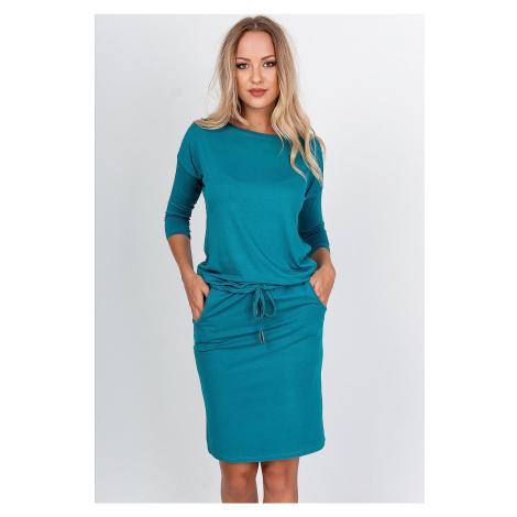 Krátke tyrkysové šaty s vreckami