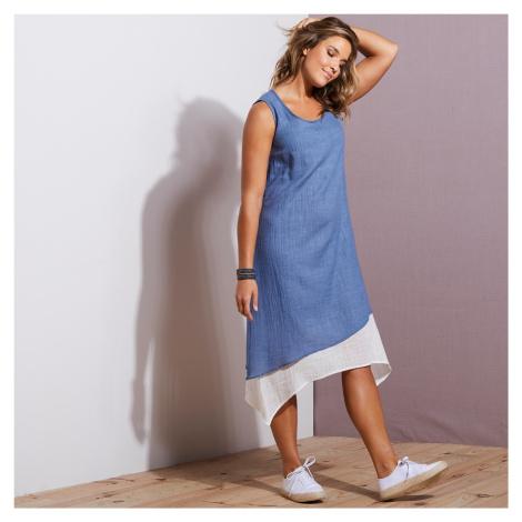 Blancheporte Asymetrické šaty 2 v 1 modrá džínsová