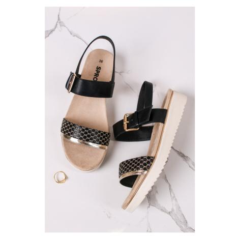 Čierno-zlaté platformové sandále Malia SPROX