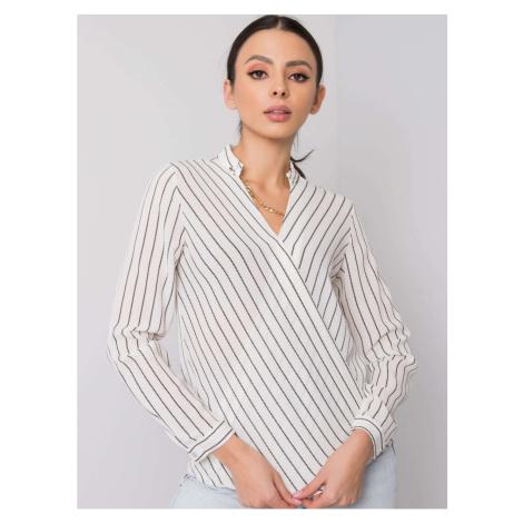 RUE PARIS Ecru-black striped blouse