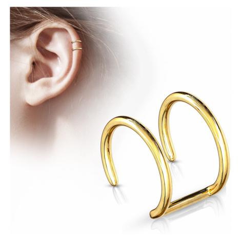 Falošný piercing do ucha z chirurgickej ocele - dvojitý krúžok v zlatom odtieni