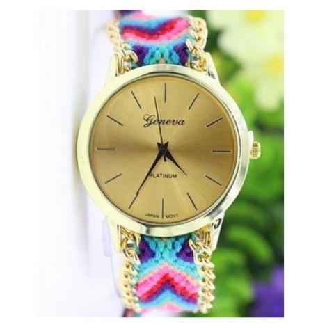 Dámske hodinky so vzorovaným remienkom Gold