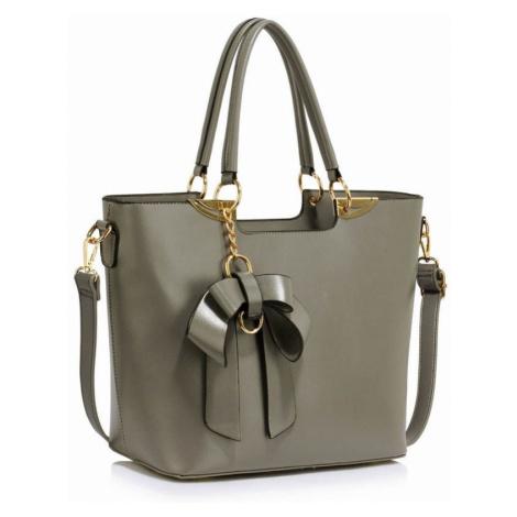 Dámska sivá kabelka s príveskom