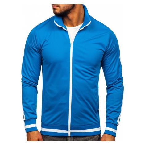 Modrá pánska mikina na zips bez kapucne retro style Bolf 2126