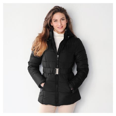 Blancheporte Krátka prešívaná bunda s opaskom čierna