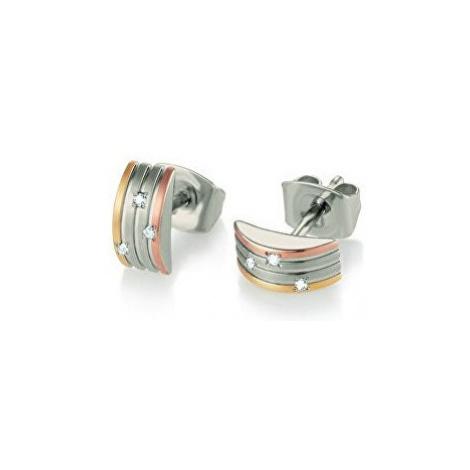 Boccia Titanium Tricolor titánové náušnice s pravými diamantmi 05006-03