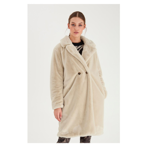 Ichi béžový zimný kabát Ihhaya JA Tapioca