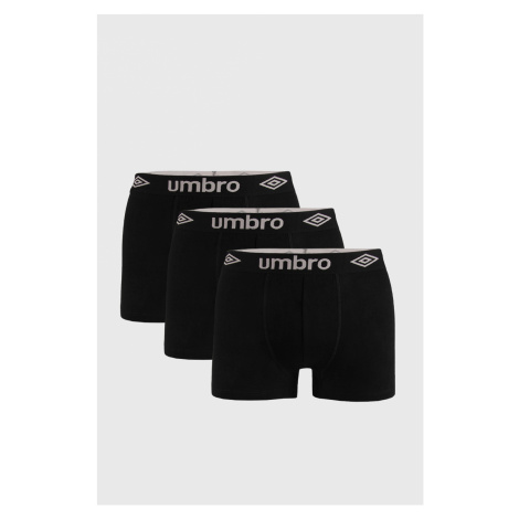 3 PACK čiernych boxeriek Umbro Organic cotton
