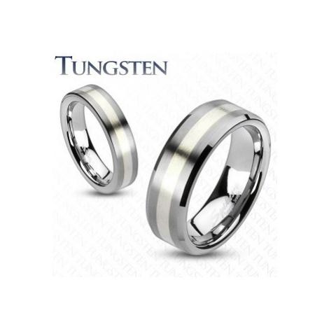 Wolfrámový prsteň - matný šedý s pásom striebornej farby - Veľkosť: 69 mm, Šírka: 8 mm
