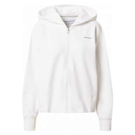 Calvin Klein Jeans Tepláková bunda  biela / čierna