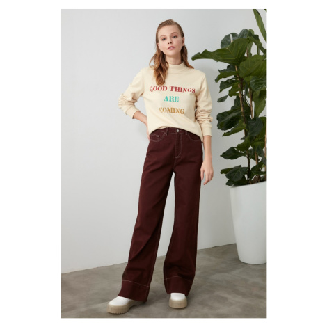 Trendyol Brown Contrast Stitched High Waist Wide Leg Jeans