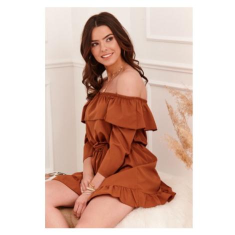Vzdušné španielske šaty s voľnými, ¾ dlhými rukávmi, hnedé FASARDI