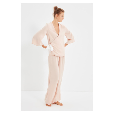 Trendyol Powder Double Breasted Woven Viscose Pajamas Set